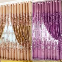 dormitorio de peonía al por mayor-Cortina Tulle Peony Ventana de lujo Cortinas transparentes para la sala de estar European Royal Floral Voile Cortinas para el dormitorio