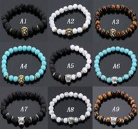 Wholesale Agate Bead Bracelets - Volcanic Stone Lions Head Bracelet Fashion Buddhist Buddha Meditation Beads Bracelets For Men Statement Jewelry Prayer Beads Bracelet
