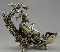 Wholesale car opening lights resale online - Collectible Decorated Old Handwork Tibet Silver Elder Read On Tree Branch Statue