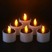 6 Pcs / Set Yellow Flicker LED Lights Bougies d'énergie solaire Flameless Electronic Nightlight Candle Warm Light