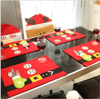 Wholesale Table Cloth Sale Wholesale - Hot sale 2016 new design velvet placemat with gloves style tableware holder Christmas decoration table decoration Home decoration