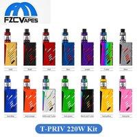 Wholesale T Lcd - Authentic SMOK T-Priv 220W Full Kit T Priv Advanced Vape Kit with LED Light Top Lcd Display 100% Original