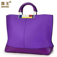 Vente en gros- Qiwang Flag Metal Large Tote Bags Purple Design de luxe européen Brandr Real Leather Women Handbags Big to Holder Laptop Easy