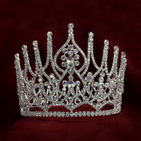 Wholesale Beauty Pageant Tiaras - Full Large Crowns 5.7`` For Lady Bridal Weddind Tiaras Miss Beauty Pageant Queen Headwear Rhinestone Fashion Jewelry Hair Crown 01681
