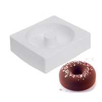 Wholesale Doughnut Mold - Savarin Donuts Hollow Shaped White Silicone Mold Dessert Cake Tools Doughnut Maker Baking Mould Tray for Muffin ZA3017