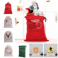 Wholesale Large Christmas Deer - Drawstring Gift Bag Christmas Halloween Canvas Santa Sack Bags Santa Claus Cute Deer Ornament Elk Handbags Large CanvasTote KKA2124