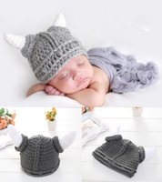Wholesale Ox Horn Caps - Crochet Baby Boy Ox Horn Cap Costume Knitted Newborn Baby Cartoon Outfits Baby Crochet Photo Props Hat Beanie Infant Hat BP038