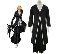 Wholesale bleach ichigo full cosplay for sale - Bleach Ichigo Kurosaki Bankai Kimono Uniform Anime Cosplay Costumes Cloak Long Cape
