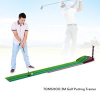 Wholesale Putting Practice Green - Trainer Practice Set Training Mat Indoor Putting Green Golf Putter with Double Holes Gravity Ball Return Golf Putter