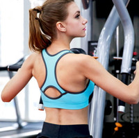 Wholesale Padded 32d Bra - New fashion women's professional shake proof wireless bra running gym yoga sports back hollow out breathable crop top bustier padded vest