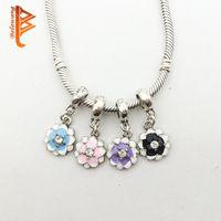 Wholesale Black Magnolia - BELAWANG Wholesale Silver Flower Beads Charm Enamel Magnolia Bloom With Crystal Pendant Beads Fit Pandora Bracelet DIY Jewelry Accessories