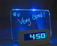 fluoreszierende platte großhandel-Tischuhren LED-Licht Digital leuchtende Leuchtstoffplatte Hand schriftliche Anschlagbrett Wecker USB elektronische Originalität 30lz A R