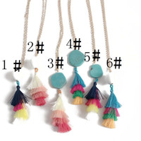 Hot Popular Rainbow Thread Tassels Long Collier Or Placé Géométrie Collier en caoutchouc en pierre naturelle Colliers Le meilleur pour Lady Mix Couleurs