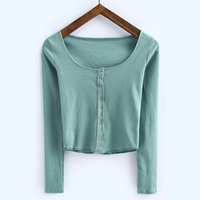Wholesale Collar Rounded Low - European and American fashion women's new pure color single-breasted thread long sleeve low round collar T-shirt