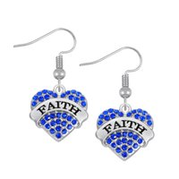 Wholesale Faith Drops - Fashion Design Crystals Embedded FAITH Engraved Charm Earrings Heart Drop Earring Women Jewelry best Gift For Daughter