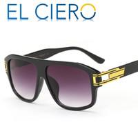 Wholesale Modern Flats - EL CIERO Designer Sunglasses For Men & Women 2017 High Quality Luxury Flat Top Square Glasses Unisex Modern Party Shades UV400 Protection