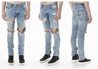 Wholesale Men Jumpsuits - Designer KANYE Justin Bieber Men Jeans Fear Of God Ripped Jeans Blue Rock Star Mens Jumpsuit Denim Male Pants