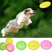Wholesale Soft Flying Disc Dogs - PVC Soft Pet Frisbee Toy For Dog Training 23cm Green Yellow Blue Pink Random delivery A250