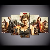 5 pezzi / set Resident Evil Framed HD Print Il capitolo finale Immagine Wall Art Canvas Stampa Poster Canvas Oil Painting Cuadros