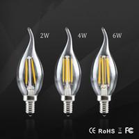 Wholesale Christmas Candelabra Lights - E17 E14 LED Bulb lamp 110v 220v 2W 4W 6W LED Filament Candelabra Light Dimmable led Retro Crystal chandeliers Christmas