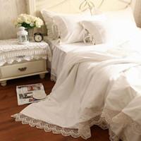 Wholesale Princess Quilts - Wholesale-Luxury Tribute Silk Princess Bedding Set Queen King 4pc Snow White Duvet Quilt Cover Lace Bed Skirts Bedspread Bedclothes Cotton