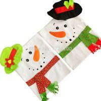 ingrosso cappello disegni per natale-Nuovo design 2 pezzi Decorazioni natalizie per la casa Red Hat Coprisedie Navidad Santa Claus Party Merry Christmas Ornament