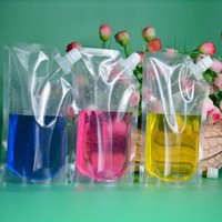 Wholesale juice packaging wholesale - 500ml Stand-up Plastic Drink Packaging Bag Spout Pouch for Beverage Liquid Juice Milk Coffee 200pcs lot Free shipping