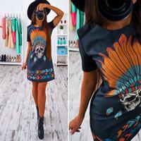 Wholesale Rockabilly Shirt L - hippie Skull Print Women t Shirt Dress 2017 Fashion Short Sleeve A-line Slim Ladies Summer Dresses Rockabilly Mini Vestidos Mujer