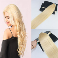 Wholesale double tape hair extensions pieces online - Tape in Hair Extensions Color Bleach Blonde s Invisiable Real Human Hair Skin Weft Tape on Hair Extensions g