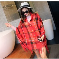 Wholesale Blanket Felt - Soft cashmere feel winter blanket plaid tartan scarf wholesale Tartan Scarf Mix Color Woolen Scarf Knitting Texture Tassels Blanket Scarves