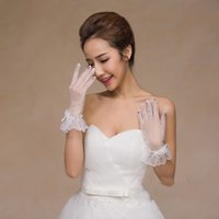Wholesale Tulle Long Bridal Gloves - 2017 sexy elegant modern lace long sleeves length bridal gloves for woman fast shipping