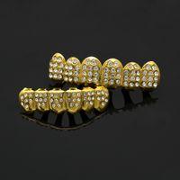 Wholesale Hip Bump - Best Quality Lureen Hip Hop Gem Braces Grillz Cool Gold Plated Bump 6 Top & Bottom Teeth Grillz Halloween Gift Men Jewelry
