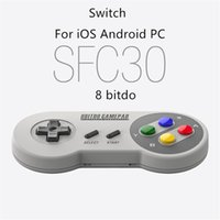controladores de juegos ipad al por mayor-2017 8BITDO SFC30 Bluetooth Gamepad Gamepad W / Xstand para iOS Android iPhone Samsung iPad PC MAC de alta calidad