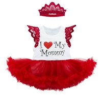 Wholesale Xl Girls Birthday - 2017 Girls Baby Clothing Sets Short Sleeve Rompers Dress Crown 2Pcs Set Cotton Happy Birthday Toddler Dresses Boutique Clothes Outfits