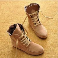 nubuck ata para arriba al por mayor-Zapatos Botas de mujer Botines de cuero Nubuck Botas de punta redonda con o sin piel Botas