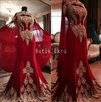 Wholesale Luxurious Dresses Dubai - Luxurious Lace Red Arabic Dubai India Evening Dresses Sweetheart Beaded Mermaid Chiffon Prom Dresses With A Cloak Formal Party Gowns