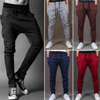 Wholesale Harem Pants Dark Red - Harem Pants New Style 8 Color Casual Skinny Sweatpants Sport Pants Trousers Drop Crotch Jogging Pants Men Joggers Sarouel Trousers