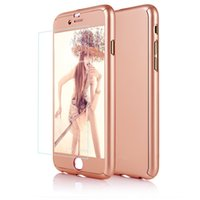 Wholesale Iphone Skin Screen Protectors - Ultra-thin Hard Hybrid PC 360 Full Body Coverage Protective Case Cover & Skin with [Slim Tempered Glass Screen Protector] for iPhone 7