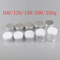 Wholesale Clear Plastic Pet Containers - Transparent empty round cosmetic cream PET container clear plastic bottle for cosmetic packaging Powder jar ,bath salt pot lid