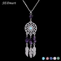 Wholesale Indian Feather Necklace - SEDmart Indian Feather Dreamcatcher Reiki Natural Stone Pendant Necklace Ethnic Boho Antique Silver Women Necklace