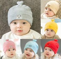 Wholesale Knit Cartoon Beanies - 2017 Autumn Infant Baby Cartoon Cotton Hat Solid Color Kids Knitted Cap Girls Boys Babies Beanies Children Hats M71