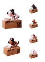 ingrosso scatole bancarie-nuovo giocattolo Puppy Eating coin bank Bella plastica doggy salvadanaio Rubare Piggy Bank per i bambini
