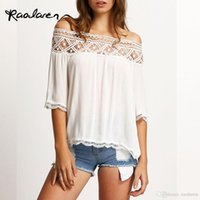 Женщины Summer Tops Sexy Lace Stitching Chiffon Blouses 2017 Casual T Thirts Short Sleeve Tees Black White Blue White