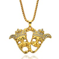 Wholesale Ice Face Mask - HIP Hop Rock Iced Out Bling Clown Double Droll Mask Pendants Necklaces for Men Jewelry N587