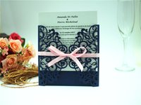 Wholesale Wedding Invitations White Sheet Card - 2017 Free shipping European Classic Paper Laser Cut Navy Blue Wedding Invitations Cards Customizable Invitation with Blank Inner Sheet