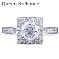 Queen Brilliance 1ct Lab Grown Moissanite Diamond Engagement Wedding Women Ring Solid 14K 585 Or blanc pour la mode Jewerly 17903
