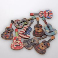 Wholesale Wooden Craft Shapes Wholesale - 50pcs lot Multicolor Guitar Shaped Buttons 2 Holes Wooden Sewing Buttons Clothes Ornament DIY Making Scrapbooking Crafts Botoes YT0343