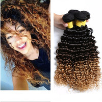 Wholesale curly ombre hair brown blonde bundles for sale - Group buy honey blonde ombre deep curly hair bundles three tone b brown blonde ombre deep wave wavy human hair extensions