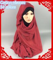 Wholesale Wholesale Hijab Pashmina Scarves - Wholesale- V6 cotton shawl ,hijab ,scarf,better material than viscose ,180*100cm ,can choose colors