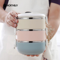 Wholesale Stainless Steel Thermal Lunch Box - Portable Stainless Steel Japanese Bento Box Gradient Color Thermal For Food With Containers Lunch Boxs For Kids Picnic